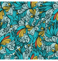 Seamless blue hand drawn floral pattern vector image