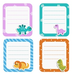Set of cute creative cards with cartoon dinosaurs vector image