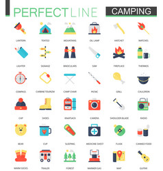 Set of flat camping hiking icons vector