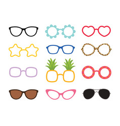 Set of real colorful style cute glasses party vector