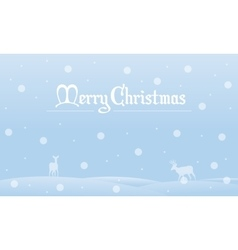 Silhouette of Christmas landscape with snow vector