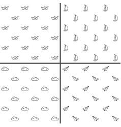 Simple minimalist seamless patterns set vector