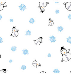 snowmen and snowflake seamless pattern vector image