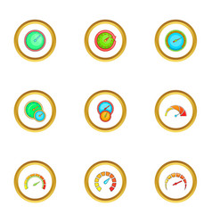 speedometer icons set cartoon style vector image vector image