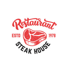 steak house emblem template design element vector image