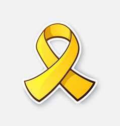 Sticker gold ribbon symbol childhood cancer vector