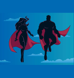 superhero couple flying in sky silhouette vector image