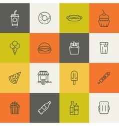 Take away food linear icons vector image