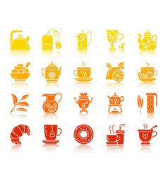 tea color silhouette icons set vector image