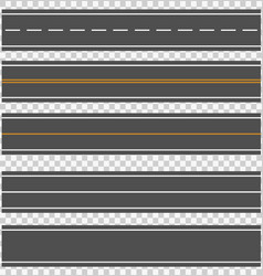 Template set of straight asphalt roads vector