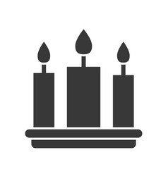 Three candle merry christmas icon set solid design vector