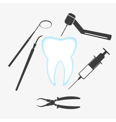 tooth and dental examination tools set eps10 vector image