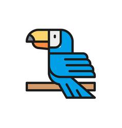 toucan tropical bird flat color line icon vector image