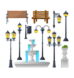 urban elements set street lamps fountain park vector image