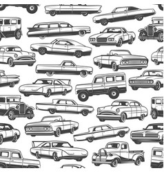 vintage cars and auto seamless pattern background vector image