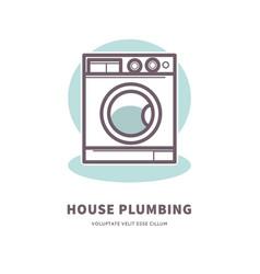 washing machine icon house plumbing equipment logo vector image
