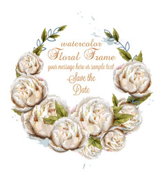 Watercolor white peonies wreath card vector