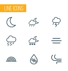 Weather outlines set collection of drizzle moon vector
