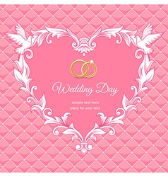 Wedding heart frame pink vector image