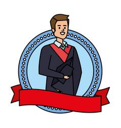 Young man student graduated in ribbon emblem vector