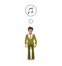 Flat character musician with with profession icon vector image