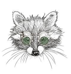 hand drawn raccoon steampunk vector image