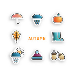 set autumn icon vector image vector image
