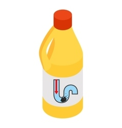 Yellow container of drain cleaner vector image vector image