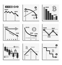 bitcoin falling down chart graphics set vector image vector image