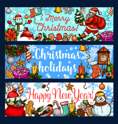 christmas holiday and new year celebration banner vector image