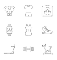 Classes in gym icons set outline style vector