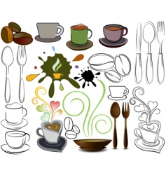 cups and spoons logos vector image vector image