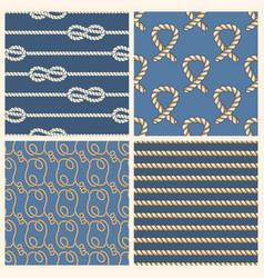 marine ropes seamless patterns set vector image vector image