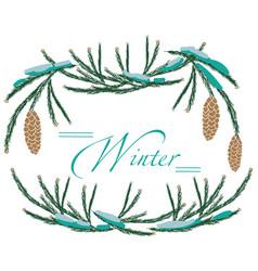 frame winter tree cones vector image