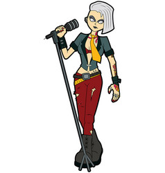 goth woman vocalist with a microphone stand vector image