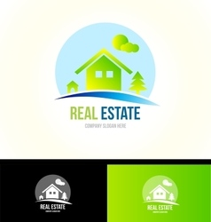 Mountain cabin real estate house logo icon vector