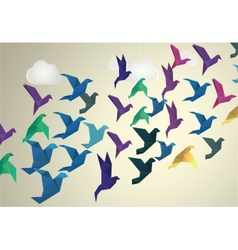 Origami Birds flying and fake clouds background vector image