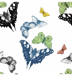 Seamless watercolor butterflies pattern vector image