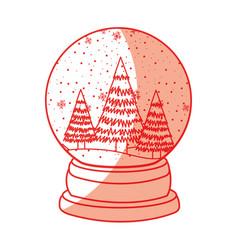 shadow christmas glass snow ball vector image