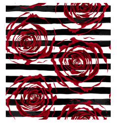 beautiful seamless pattern outline of red roses on vector image vector image