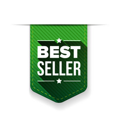 Best Seller green ribbon vector image