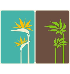 bird of paradise flower and palm tree leaf vector image vector image