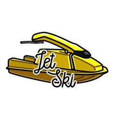 Color vintage jet ski emblem vector