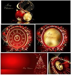 Merry Christmas background collections gold and re vector image vector image