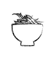 Shredded chicken bowl vector