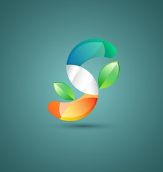 Abstract s with leaf logo vector