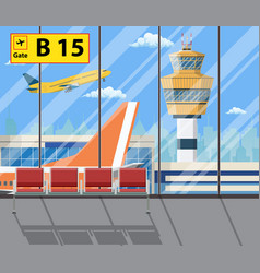 Airport terminal with seats plane control tower vector
