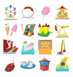 Amusement park cartoon icons vector