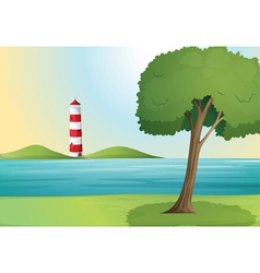 an ocean and a light house vector image