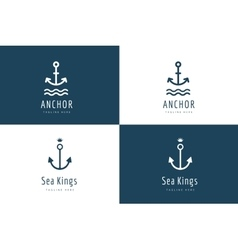 Anchor logo icon set Sea vintage or vector image